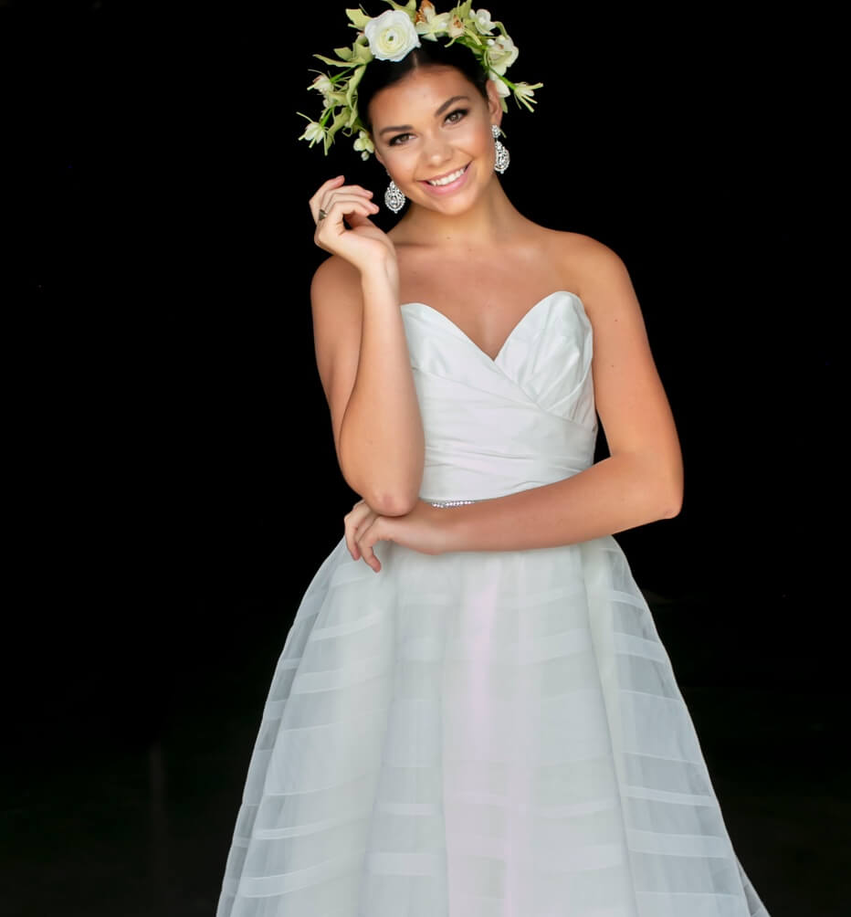 Model in Debutantes ball dress